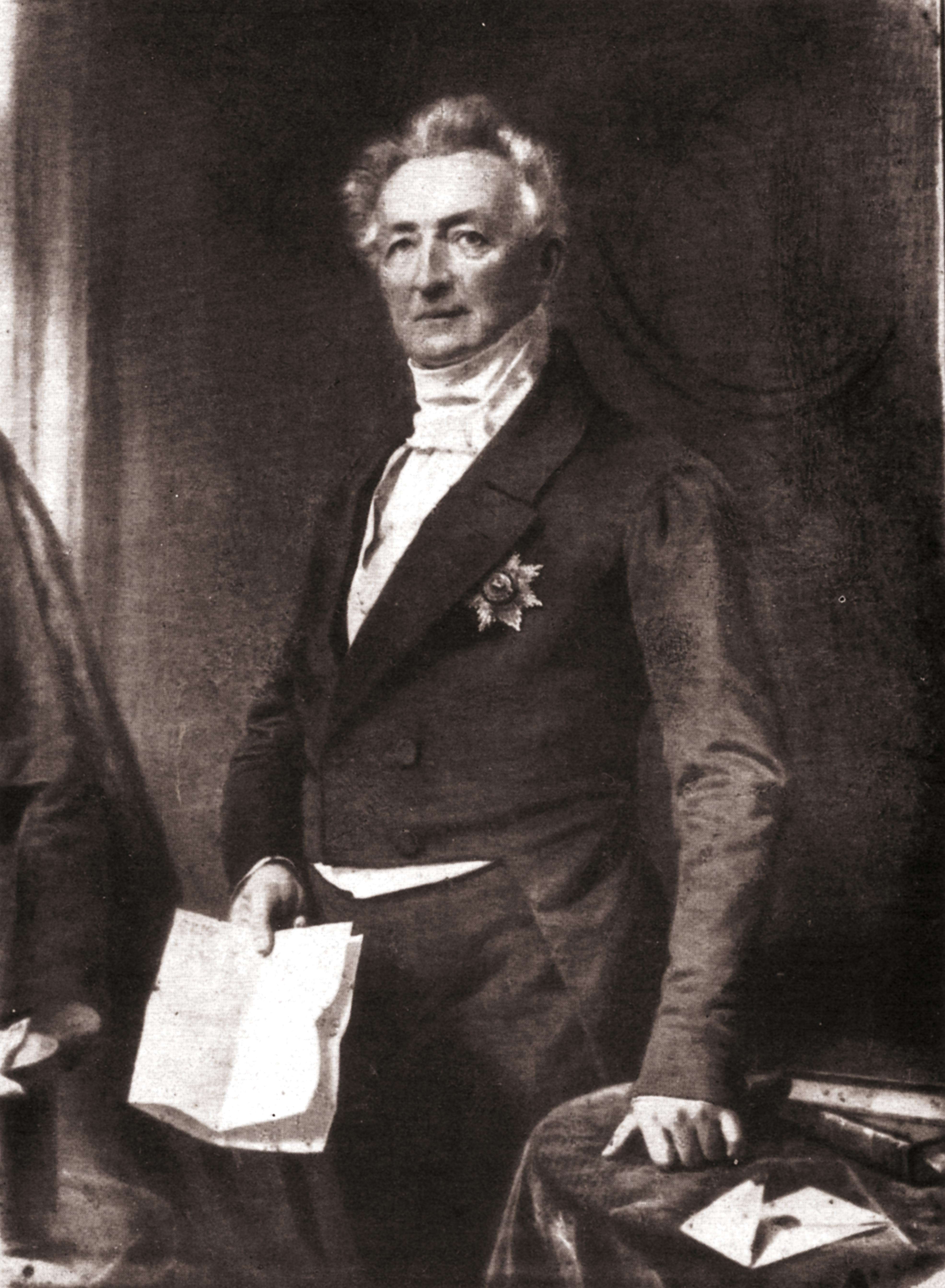 Carl Wilhelm Georg Graf zu Inn- und Knyphausen (1784 – 1860) Kgl. Hannov. Gesandter Gemälde von Franz Krüger 1852 in Lütetsburg, 1893 verbrannt